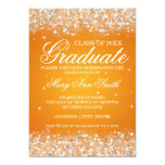 Graduation Party Sparkling Glitter Orange Card
