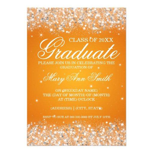Graduation Party Sparkling Glitter Orange Personalized Announcements