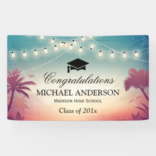 Graduation Party String Lights Summer Palm Trees Banner Zazzle