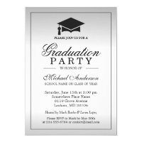 Graduation Party - Stylish Silver Metallic Look Card
