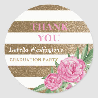 Graduation Party Thank You | Gold Stripes Flowers Classic Round Sticker