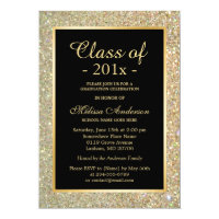 Graduation Party Trendy Gold Glitter Sparkles Card