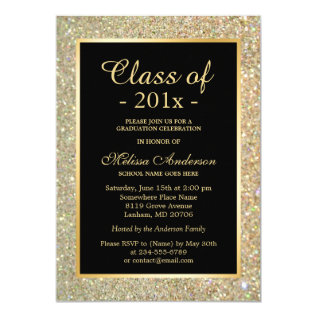 Graduation Party Trendy Gold Glitter Sparkles Card at Zazzle