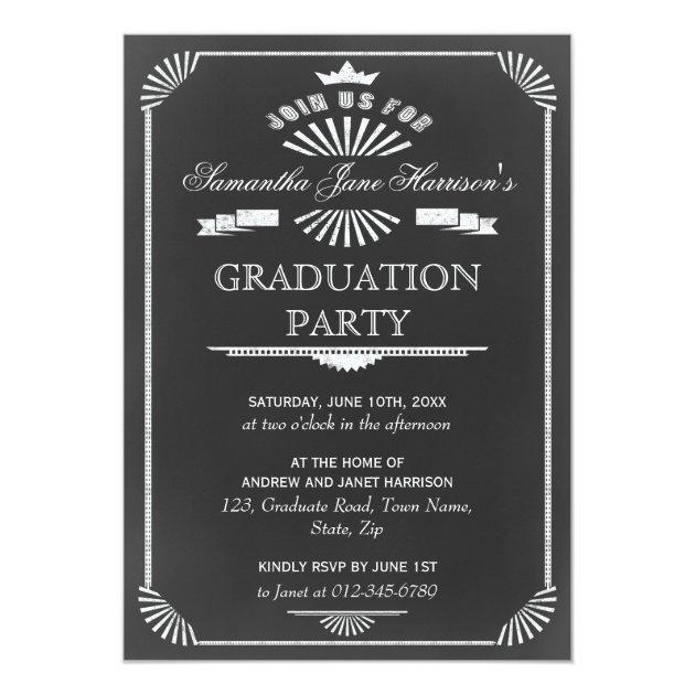 Graduation Party Vintage Chalkboard Art Deco 5x7 Paper Invitation Card