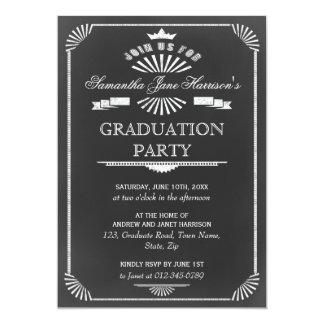 Graduation Party Vintage Chalkboard Art Deco Card