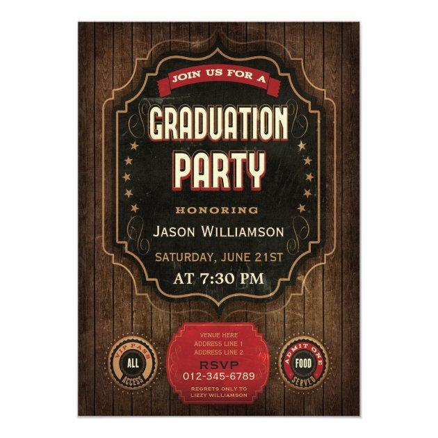 Graduation Party Vintage Chalkboard Wood 5x7 Paper Invitation Card