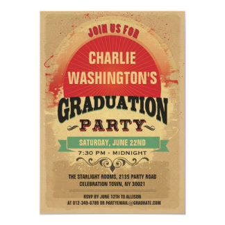 Graduation Party Vintage Typography Grunge Card