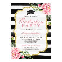 Graduation Party Watercolor Floral Gold Glitter Card