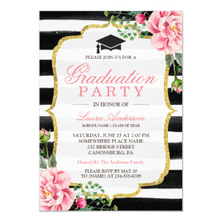 Graduation Party Watercolor Floral Gold Glitter Card at Zazzle