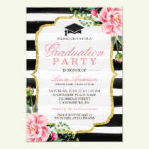Graduation Party Watercolor Floral Gold Glitter Invitation