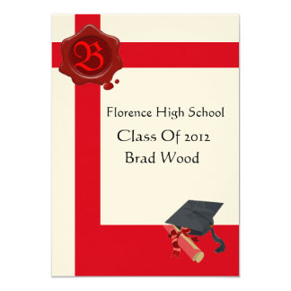 GRADUATION PARTY,White Red Wax Seal  Monogram,felt Card