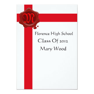 GRADUATION PARTY,White Red Wax Seal Monogram 5x7 Paper Invitation Card