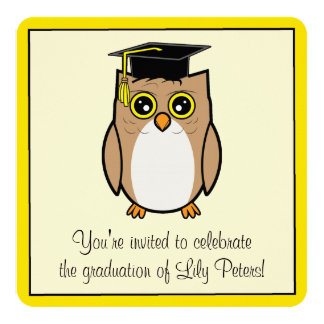 Graduation Party with Cartoon Owl Personalized Invite