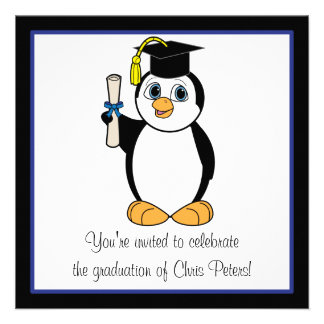 Graduation Party with Penguin with Blue Ribbon Personalized Invite