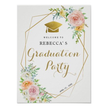 Art Themed Graduation paryt welcome sign | floral and gold