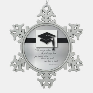 Graduation Path, Round Gift Items Snowflake Pewter Christmas Ornament
