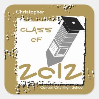 Graduation Pencil Sticker Gold