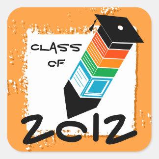 Graduation Pencil Sticker Orange