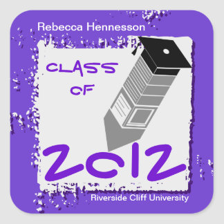 Graduation Pencil Sticker Purple