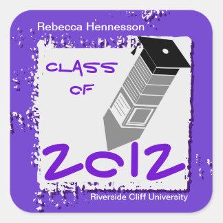 Graduation Pencil Sticker Purple