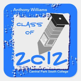Graduation Pencil Sticker Royal Blue