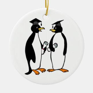 Graduation Penguins Cartoon Ceramic Ornament