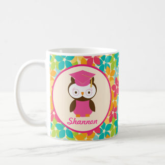 Graduation personalized owl gift idea classic white coffee mug