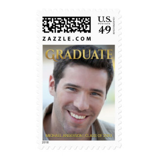 Graduation Photo Announcement with Gold Lettering Postage