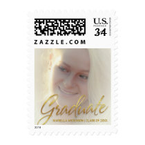 Graduation Photo Announcement with Gold Script Postage