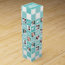 Graduation Photo Aqua and White Photo Template Wine Gift Box