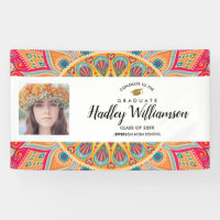 Graduation Photo Bohemian Colorful Class of 2018 Banner