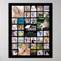 Graduation Photo Collage GRAD Commemorative Black Poster
