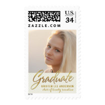 Graduation Photo Elegant Handwritten Gold Script Postage