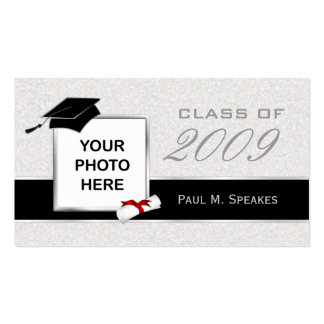 Graduation Photo Name Card - Gray and Black Business Card Templates