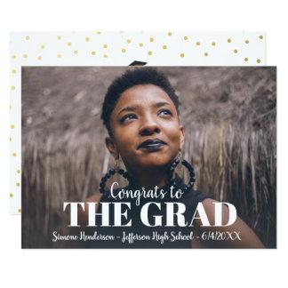 Graduation Photo Party Invite Gold Polka Dot