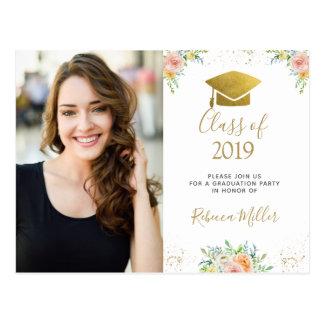 Graduation Photo Postcard floral blush gold party