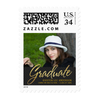 Graduation Photo Sophisticated Gold Script Grad Postage