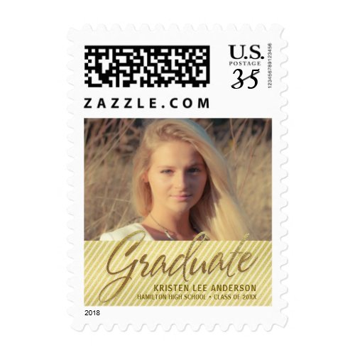 Graduation Photo Sophisticated Script Gold Stripes Postage