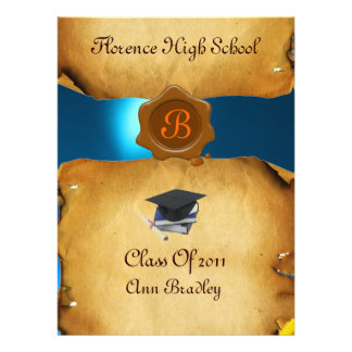 GRADUATION PHOTO TEMPLATE PARCHMENT blue Wax Seal Personalized Invite