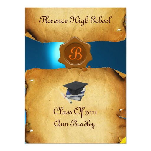 GRADUATION PHOTO TEMPLATE PARCHMENT blue Wax Seal 6.5x8.75 Paper Invitation Card