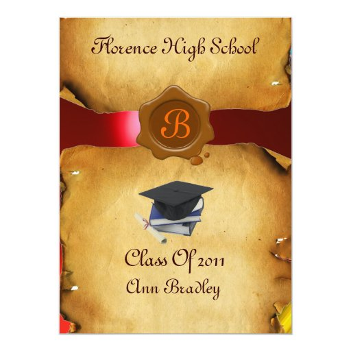 GRADUATION PHOTO TEMPLATE PARCHMENT red Wax Seal 5.5x7.5 Paper Invitation Card