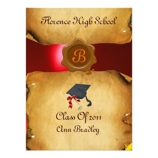 GRADUATION PHOTO TEMPLATE PARCHMENT red Wax Seal Custom Invitation