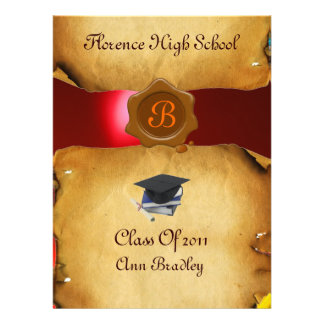 GRADUATION PHOTO TEMPLATE PARCHMENT red Wax Seal Personalized Invitations