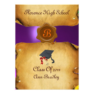 GRADUATION PHOTO TEMPLATE PARCHMENT Wax Seal Personalized Announcements
