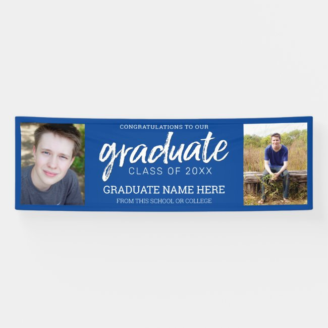 Graduation Photos Graduate with Royal Blue Virtual Banner