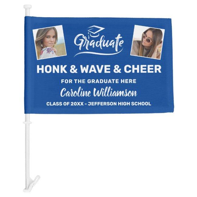 Graduation Photos Honk Wave Cheer Congrats Grad Car Flag