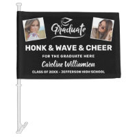 Graduation Photos Honk Wave Cheer Congrats Grad Car Flag