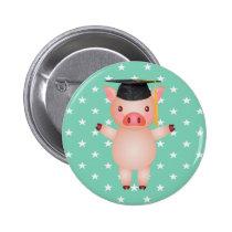Graduation Pig and Stars Button