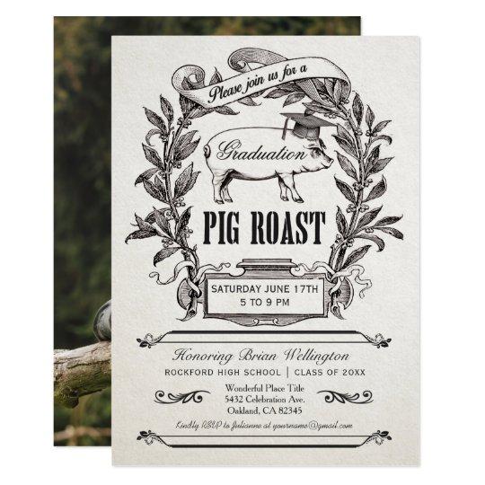 graduation pig roast invitations supreme vintage zazzle com