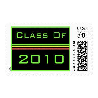 Graduation pink green stripes postage